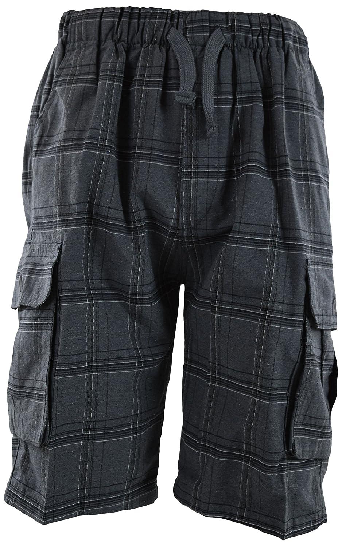 ChoiceApparel Mens Checkered Plaid Shorts Elastic Waist Band (Many Patterns)