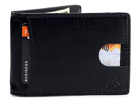 f99d78e182f73 RFID Leather Wallets for Men - Bifold Slim Mens Wallet money clip card  holder