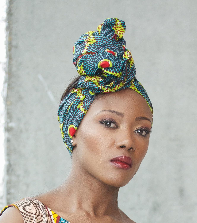 Amazon.com: Headwrap / african print headwrap/ turban / Headtie / ankara headscarf / African headtie / wax print headwrap/ headscarf - Green Envy: Handmade