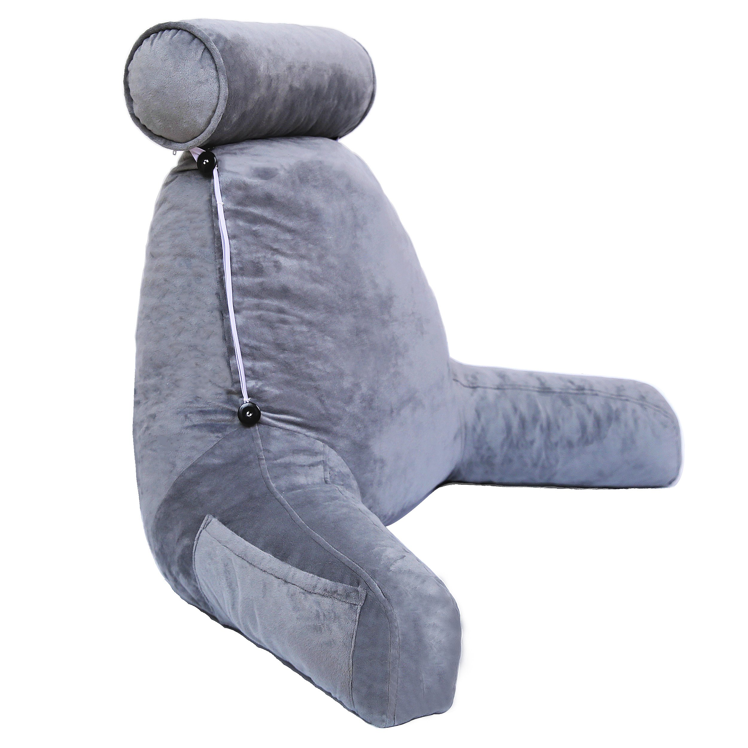 HZDY Large Backrest Pillow Rest Cushion Reading and TV Pillow, Detachable Neck Pillow, Removable and Washable Coat Gray, Advanced Memory Foam Blend Fill, Pregnant Women Cushions Lumbar Pad.