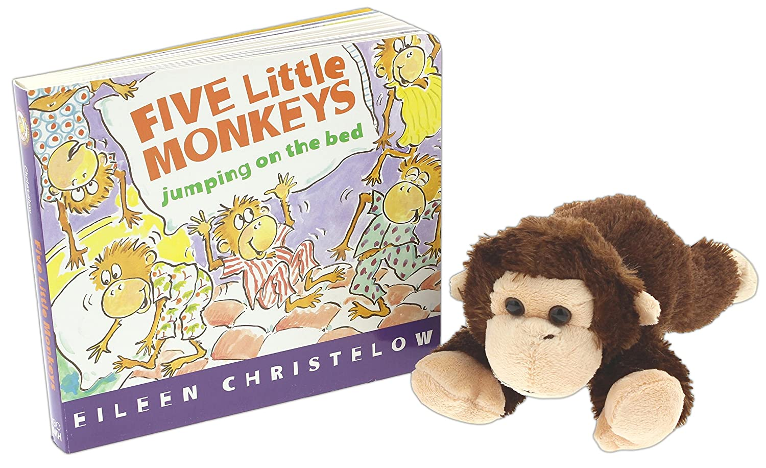 Five Little Monkeys Book Bundle with 8 Aurora Monkey Stuffed Animal