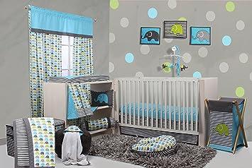 Bacati Elephants Crib Set Without Bumper Pad Aqua Lime Grey