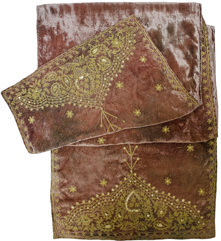 Samarkand Paisley Embroidered Velvet Shawl Stole Wrap Scarf Table Runner Beige