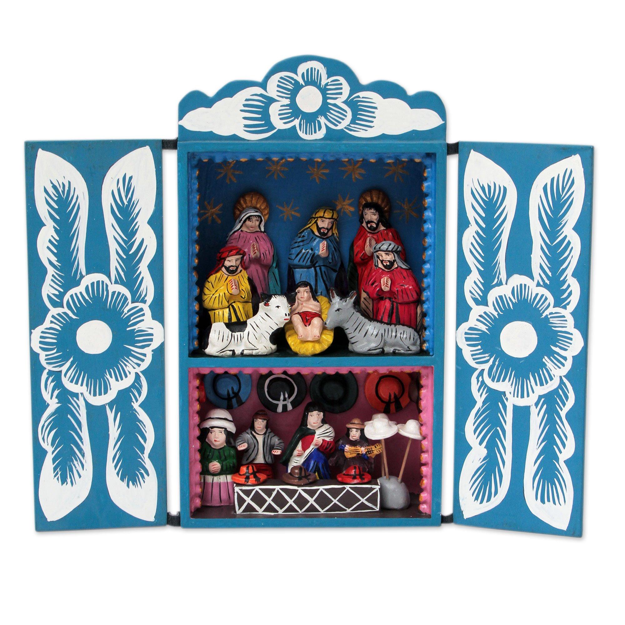 NOVICA 243892 Blue Andean Christmas' Wood retablo by NOVICA