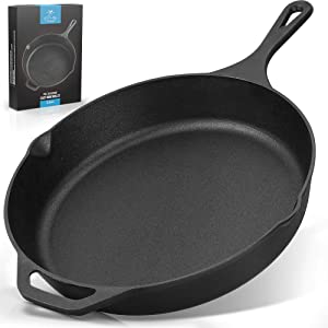 Zulay Kitchen Pre-Seasoned Cast Iron Skillet 12 Inch - Heavy Duty Seasoned Iron Cast Skillet For Indoor & Outdoor Cooking - Grill, Stovetop, Induction, Oven & Campfire Safe