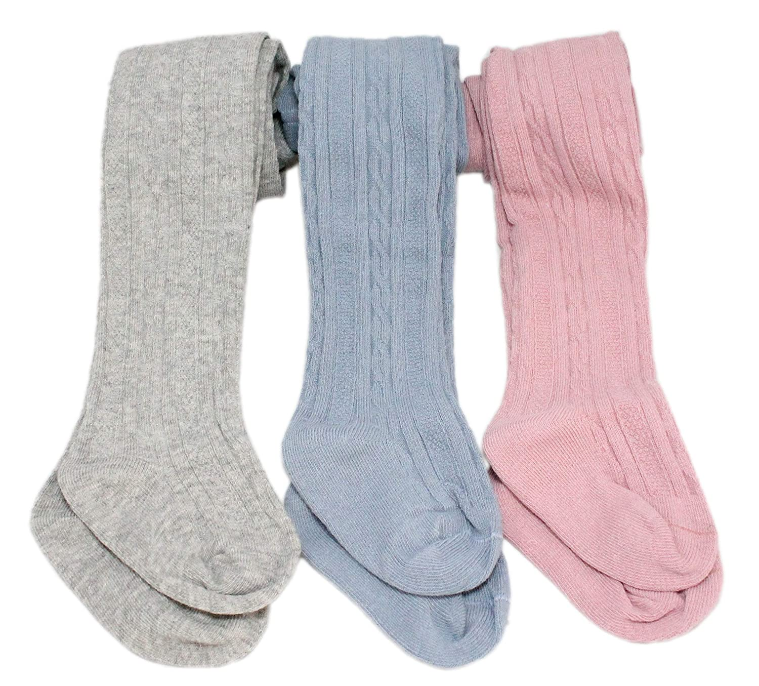 3 Pairs Baby Girl Pink Blue Grey Ribbed Cable-knit Pattern Textured Tights Pink Blue Grey)