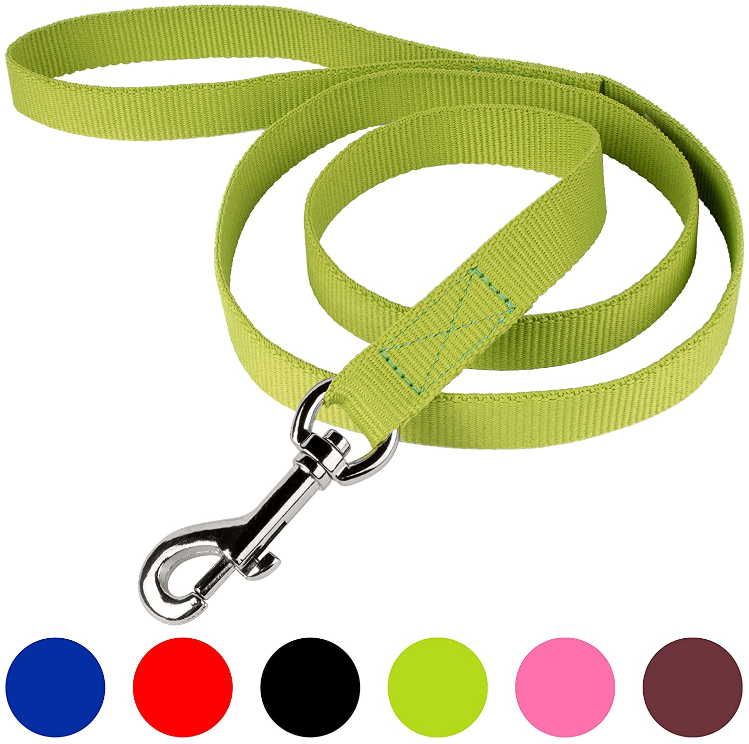 Lime Green 5 8\ Lime Green 5 8\ CollarDirect Nylon Dog Leash 4ft and 6 ft Long, Training Dog Leash Nylon, Two Dogs Leash 4 or 6 feet Long, Puppy Nylon Leash Lead Small Medium Large Black (5 8  Wide 4 ft Long, Lime Green)