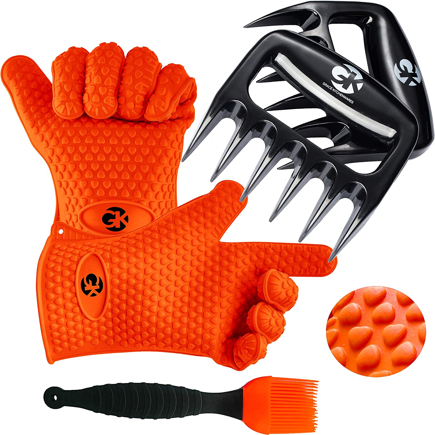 GK's 3 + 3 BBQ Man's Dream Set: Silicone BBQ Grill Gloves Plus Meat Shredder Claws Plus Silicone Basting Brush Plus 3 eBooks w/ 344 Recipes for Roasting, Grilling and Baking 91z32xgmxrL
