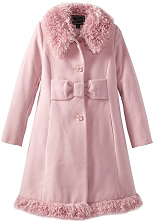 Amazon.com: Rothschild Big Girls' Big Faux Wool Skater Coat Pink