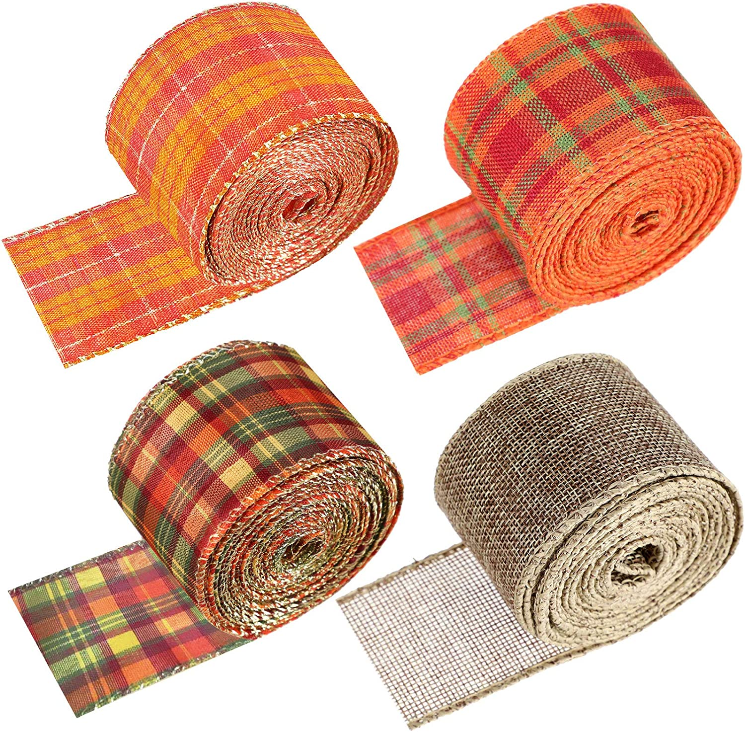 4 Rolls Fall Decor Ribbon Plaid Wired Edge Ribbons 2 Inches, Autumn Harvest Ribbon for Thanksgiving Halloween Pumpkin Decorating and Crafts