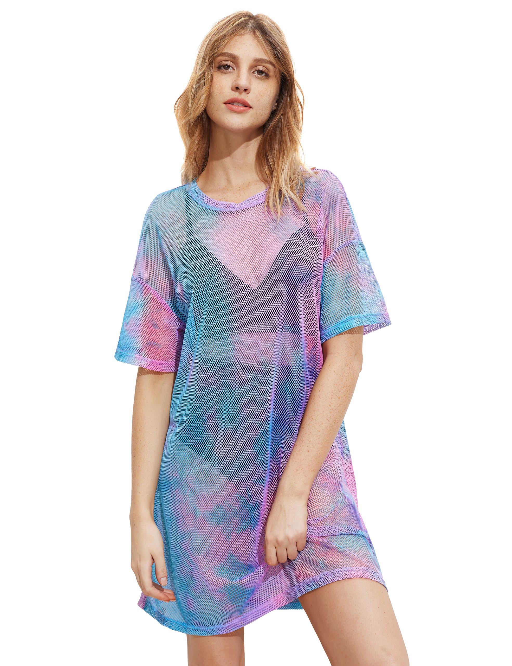 MakeMeChic Women's Short Sleeve See Through Sheer Mesh T Shirt Dress Multicolored L