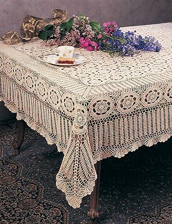Handmade Crochet Lace Tablecloth, 100% Cotton, 72u0026quot;X90u0026quot; Rectangular