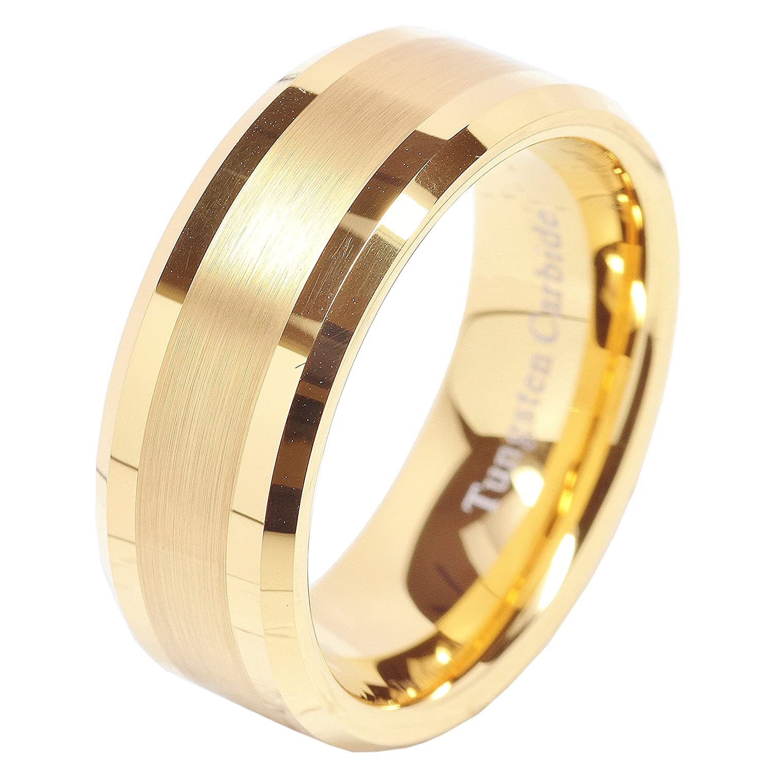 100S JEWELRY 8mm Men's Tungsten Carbide Ring Wedding Band 14k Gold Plated Jewelry Bridal Size 8-16