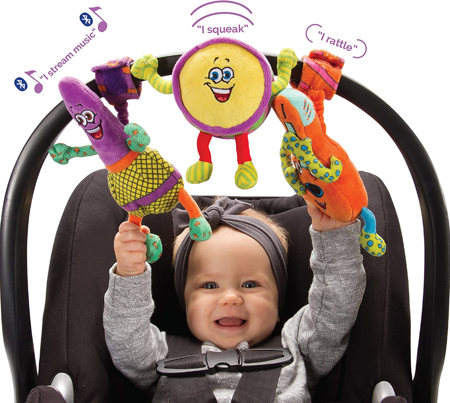 Amazon Com Lil Jammerz Baby Music Toys For Car Seat Or Stroller Includes A Bluetooth Speaker Downloadable App That Streams Music Or White Noise And Plush Rattle Squeaky Toy Toys Games