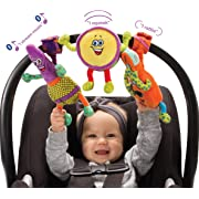 Lil' Jammerz Set of 3 Plush Baby Toys: Includes a Bluetooth Speaker, Downloadable App That Streams Music or White Noise, a Rattle & Squeaky Toy - All Attach to a Car Seat, Stroller or Carrier