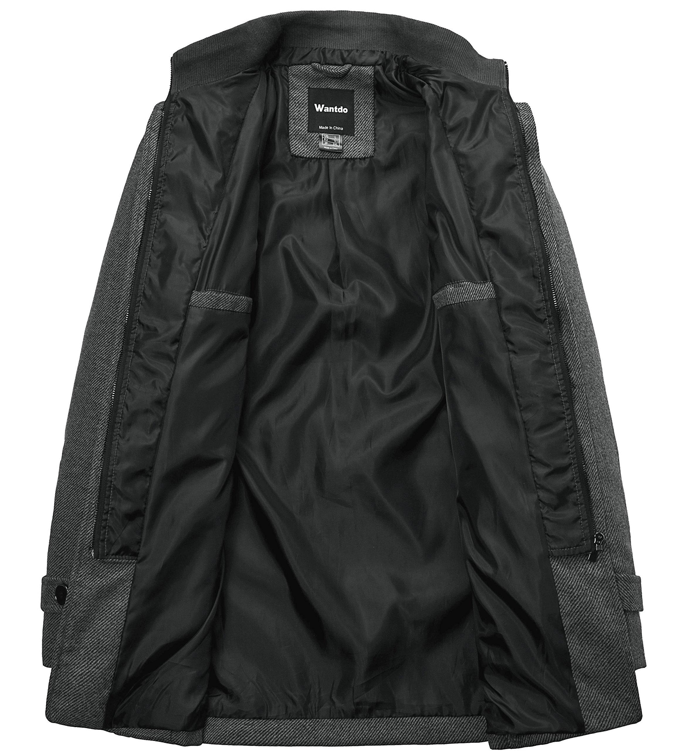Wantdo Men's Wool Coat Stand Collar Windproof Jacket Overcoat Grey Large by Wantdo (Image #3)