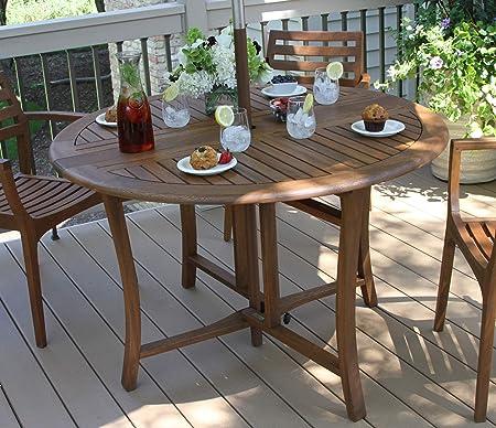 Amazon Com Eucalyptus 43 Inch Round Folding Deck Table Patio Dining Tables Garden Outdoor
