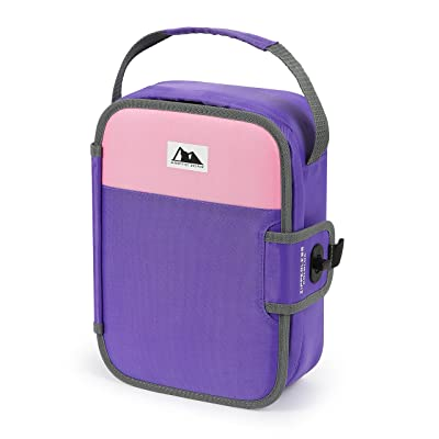 Artic Zone Zipperless Insulated Lunch Box with Built In Lunch Tray (Pink and Purple): Kitchen & Dining