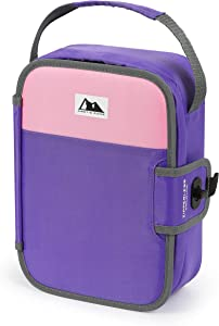 Artic Zone Zipperless Insulated Lunch Box with Built In Lunch Tray (Pink and Purple)