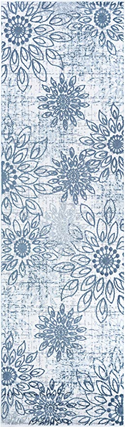 Amazon Com Couristan Calinda Summer Bliss Area Rug 2 3 X 7 6 Runner Steel Blue Ivory Furniture Decor