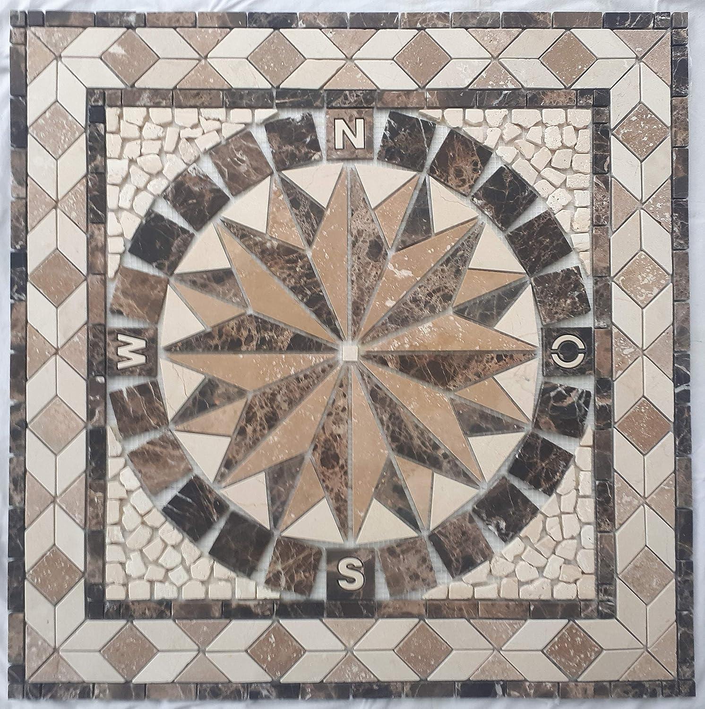 Emperador Dark und Crema Marfil Marmor im Format von 67 x 67 cm Fliesen Naturstein Mosaik Rosone aus spanishem Travertin Noce