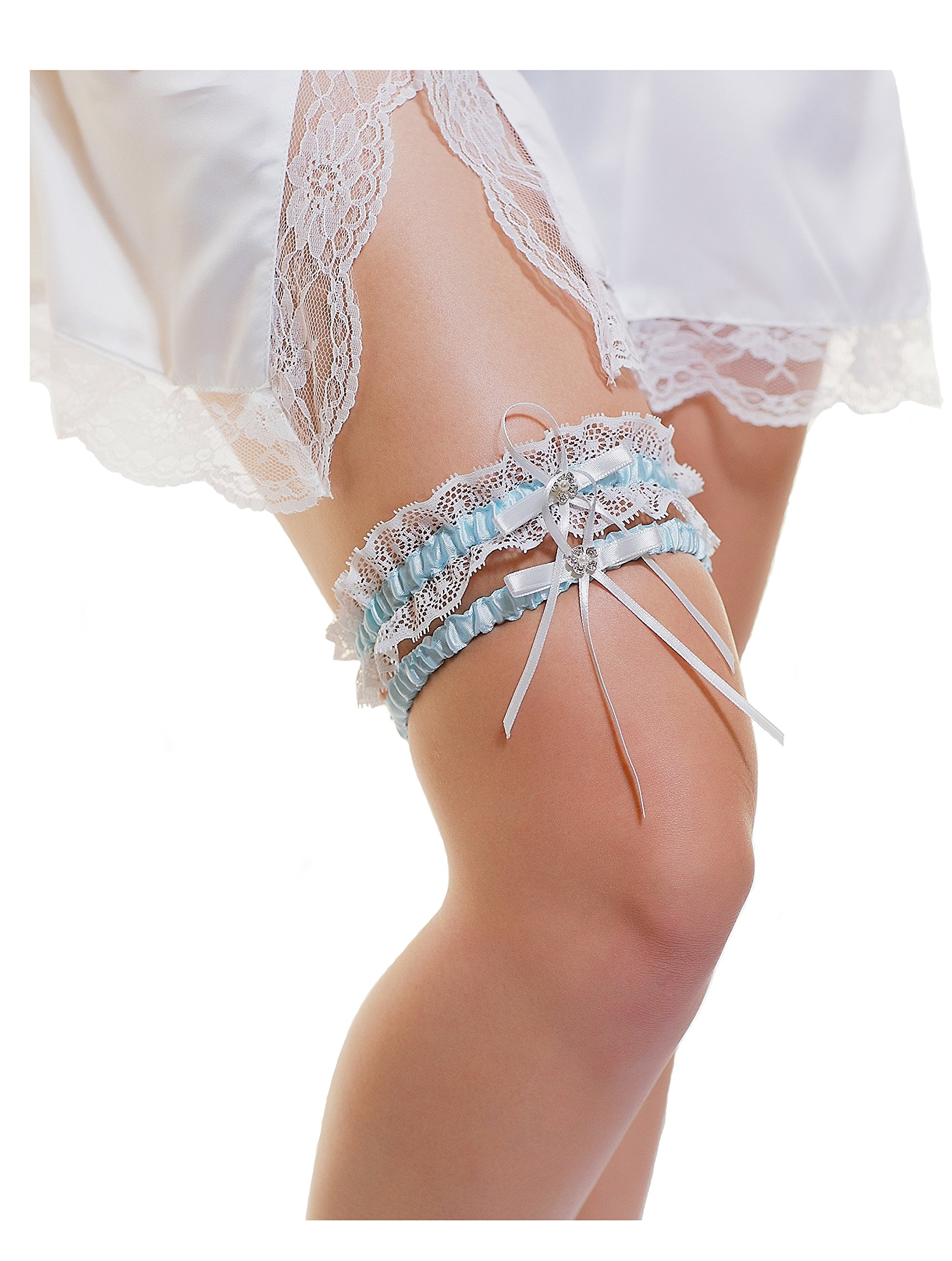 LR Bridal Blue Wedding Garter Brides Set of 2 Rhinestone Satin Bow. One Keeps one Garter Throw!