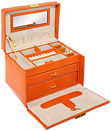 Amazoncom Paylak TS382OGE Orange Leather Large Lock Jewelry Box