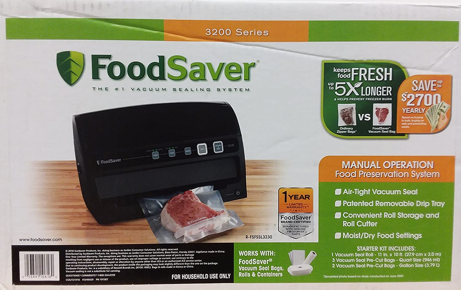FoodSaver V3230 Vacuum Sealing System with Starter Kit – Remanufactured