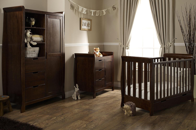 mini furniture sets. obaby lincoln mini 3 piece nursery furniture set - walnut: amazon.co.uk: baby sets