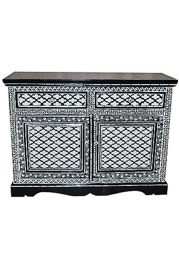 Orientalische Kommode Sideboard Dinara 120cm Schwarz Weiß | Orient ...