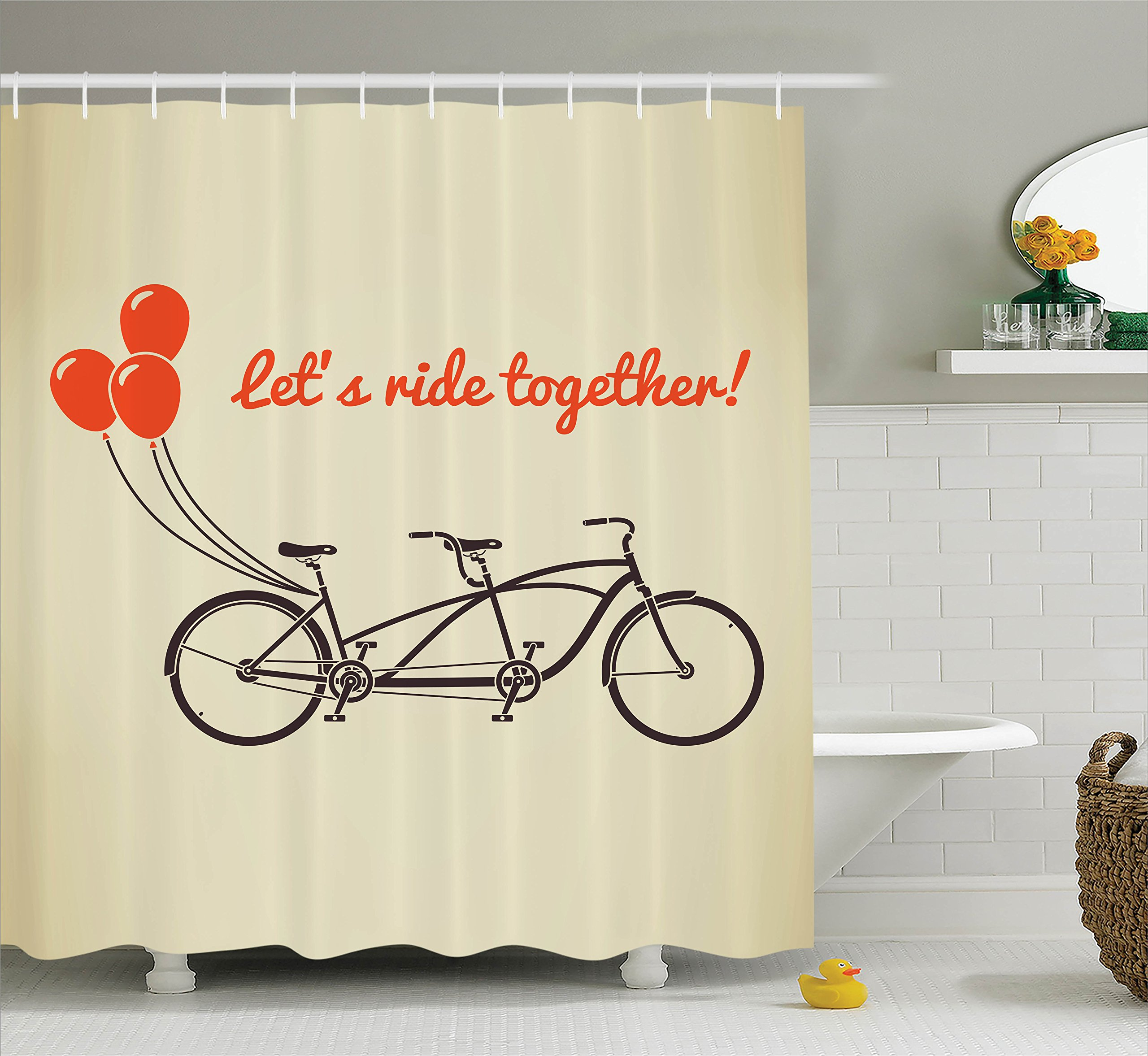 Ambesonne Vintage Decor Collection, Classic Romantic Couple Bikes with Retro Flying Baloons in Sky Family Love Future Graphic, Polyester Fabric Bathroom Shower Curtain Set with Hooks, Ecru Red