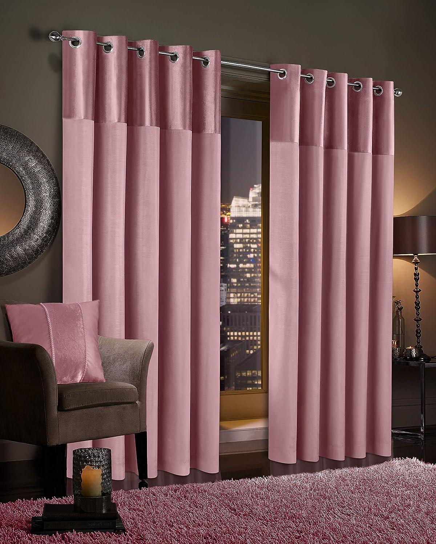 "Gran Reno Crushed Velvet Curtains PAIR Faux Silk Fully Lined Eyelet Ring Top Curtains (Blush Pink, 46"" Width x 72"" Depth) Blush Pink 46"" Width x 72"" Depth"