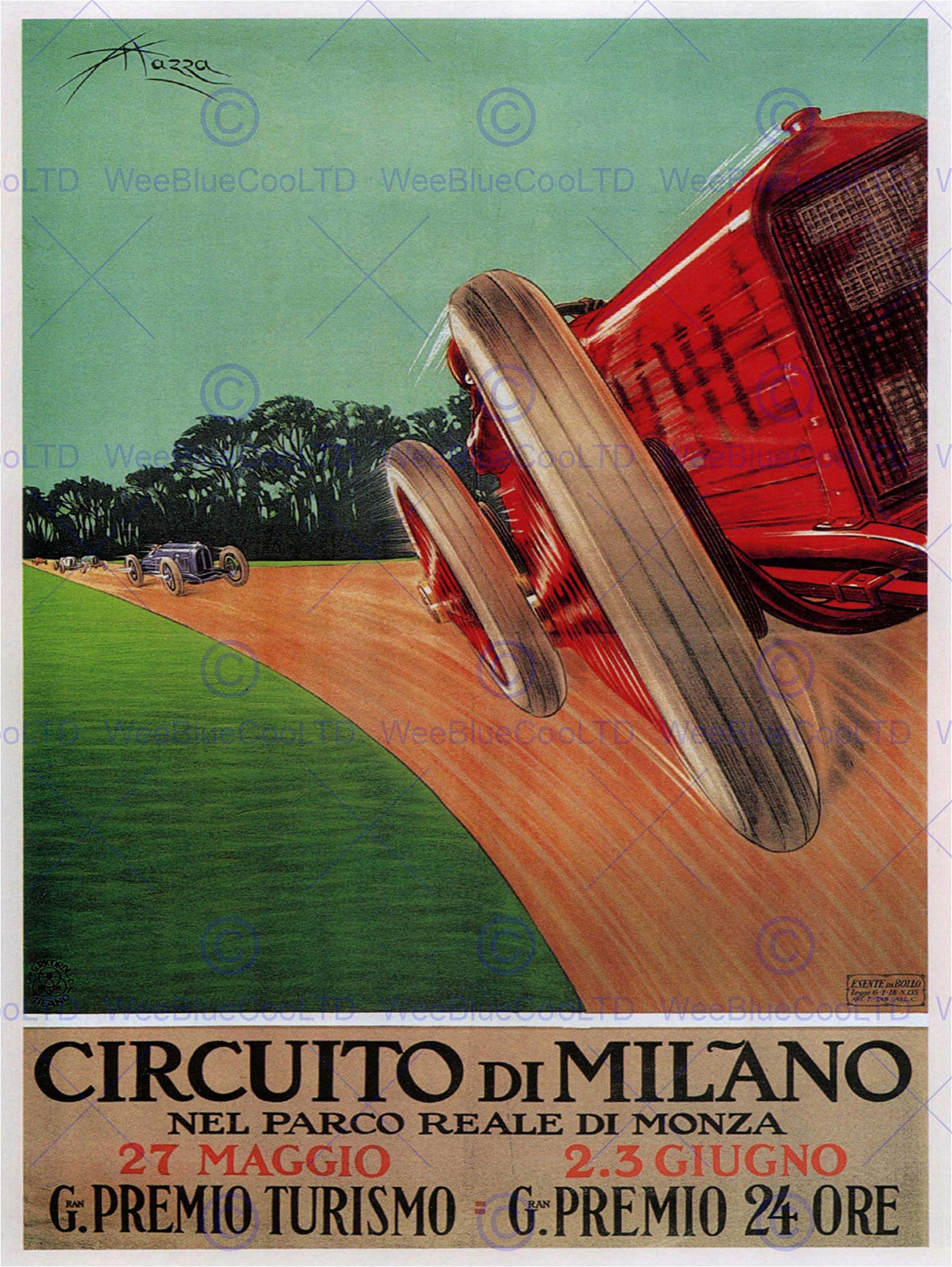 SPORT MOTOR MONZA MILAN ITALY RACING VINTAGE POSTER ART PRINT 12x16 inch 30x40cm 908PY