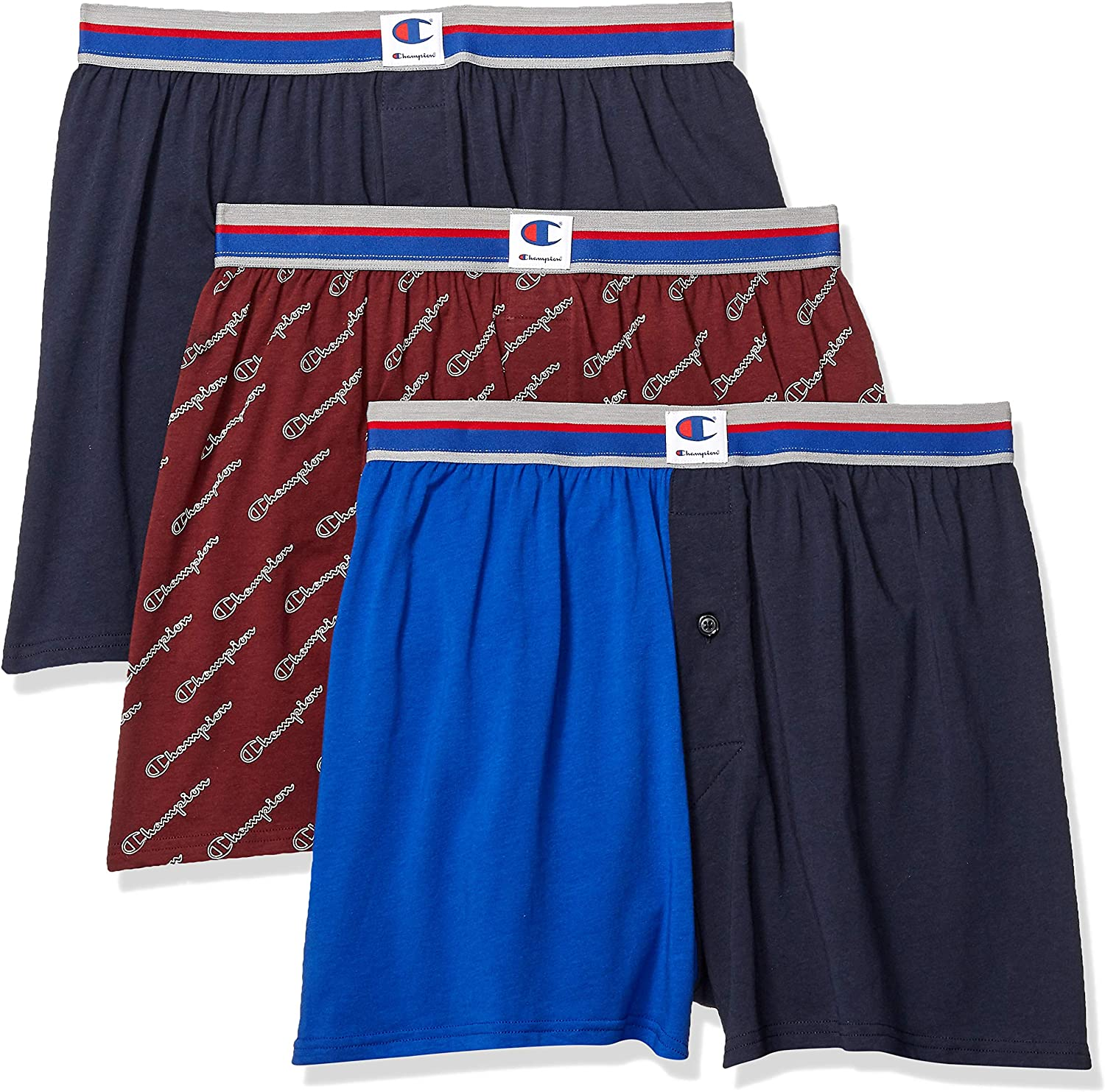 Champion Men's Everyday Comfort Cotton Stretch Knit Boxers 3-Pack
