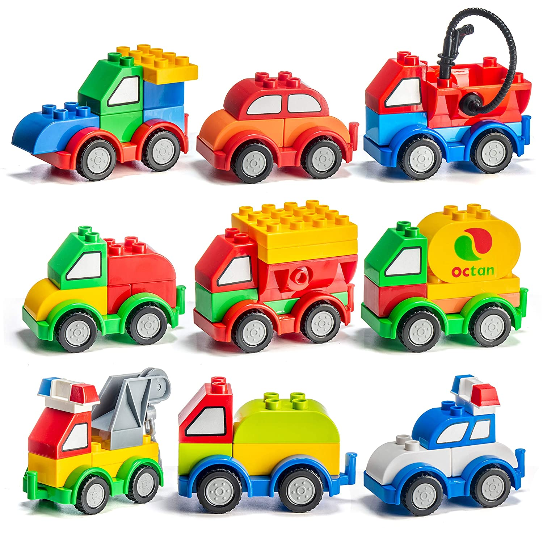 Prextex 60 Pieces Build Your Own Toy Cars Set Building Blocks Building Bricks