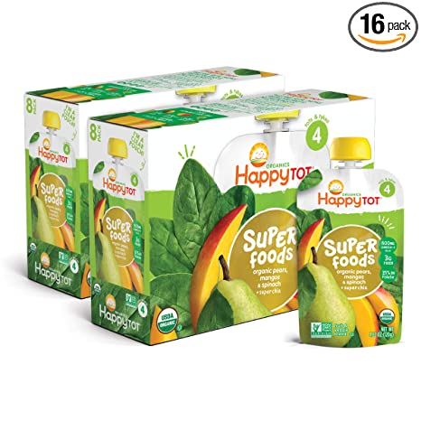 HAPPYTOT Organic Stage 4 Super Foods Pears, Mangos and Spinach + Chia, Non-GMO Gluten Free 3g of Fiber Excellent source of vitamins A & C, 4.22 Ounce per Pouch (Pack of 16) (Packaging May Vary)