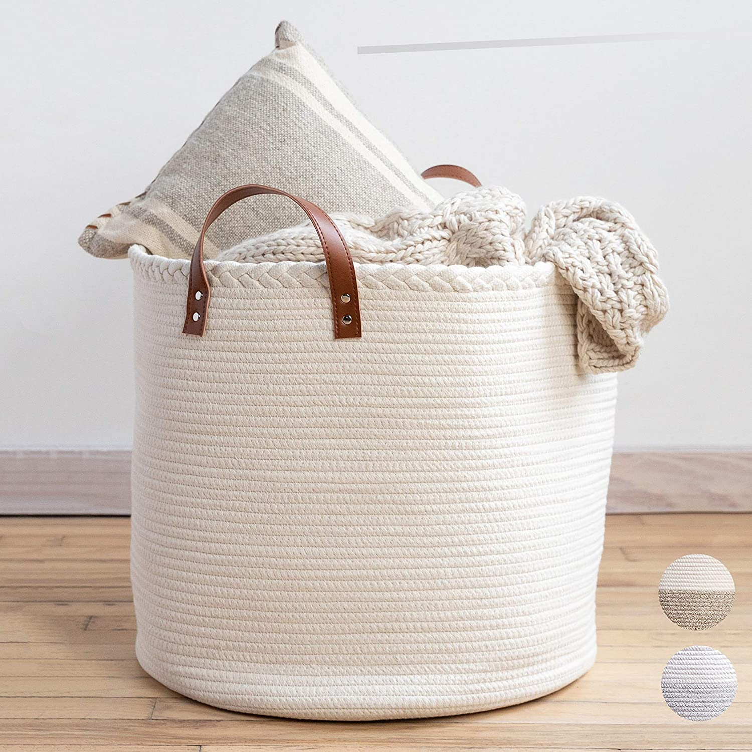 "XXL Premium Cotton Rope Basket 18""x18""x16"" - Big Basket for Blankets Living Room – Woven Laundry Basket- White Basket - Large Blanket Basket Living Room - Storage Basket - Large Baskets for Blankets"