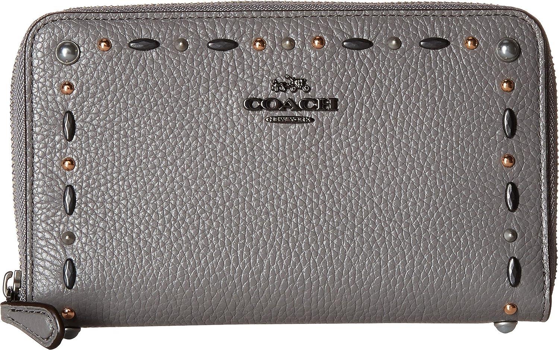 Amazon.com  COACH Women s Medium Zip Around Wallet with Prairie Rivets  Dk Heather Grey One Size  Shoes e231b2ff638f7