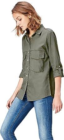 Marca Amazon - find. Camisa de Manga Larga con Bolsillos para Mujer, Verde (Olive), 40, Label: M: Amazon.es: Ropa y accesorios