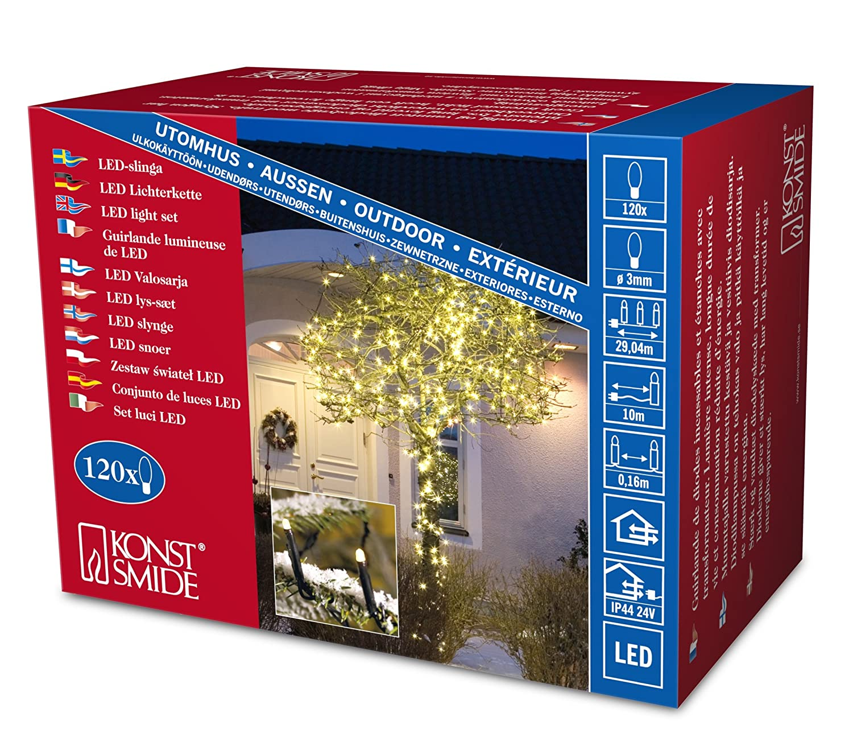 Konstsmide 3613-800 Micro LED Lichterkette f/ür Au/ßen IP44 // VDE gepr/üft // 24V Au/ßentrafo // 200 bernsteinfarbene Dioden // schwarzes Kabel