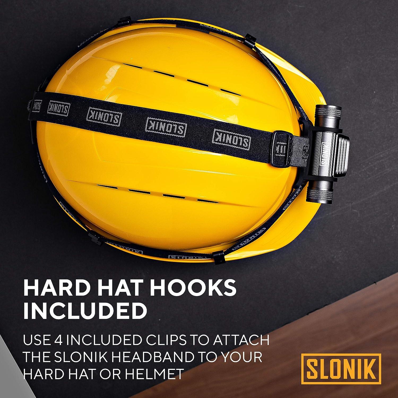 Non-Slip Comfortable Fire Helmet Band with Removable Top Strap and 4 Helmet Hooks Elastic Flashlight Head Strap SLONIK Headlamp Replacement Headband Universal Fit Headlamp Strap Heavy-Duty