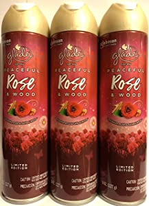 Glade Air Freshener Spray - Limited Edition - Holiday Collection 2019 - Peaceful Rose & Wood - Net Wt. 8 OZ (227 g) Per Can - Pack of 3 Cans