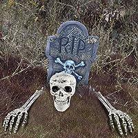 Halloween Decor Groundbreaker Halloween Skeleton Stakes Skull with 16 Inch Foam R.I.P. Graveyard Tombstone Best Outdoor Halloween Decoration Prop