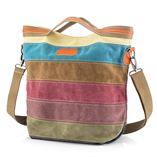 c5ec7c940251 Canvas Handbag SNUG STAR Multi-Color Striped Lattice Cross Body Should Purse  Bag Tote-Handbag for Women  Amazon.ca  Jewelry
