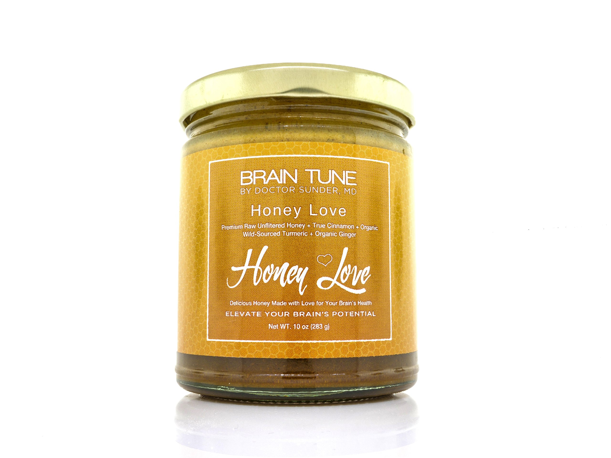 Brain Tune Honey Love - 100% Raw Honey, Brain Enhancing Natural Superfood - Premium Raw Unfiltered Honey + True Cinnamon + Organic Wild Sourced Turmeric + Organic Ginger