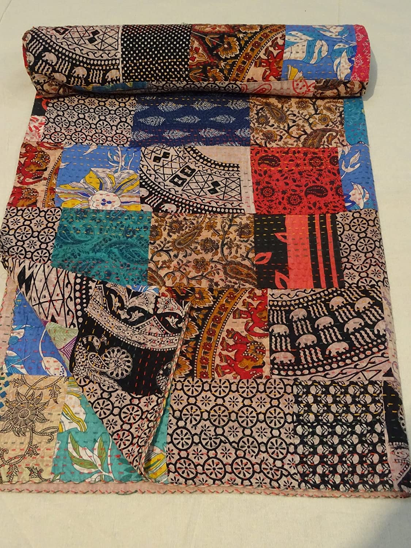 Floral Hand Block Kantha Quilt Cotton Hand Block bedspread Bedding Twin Size **