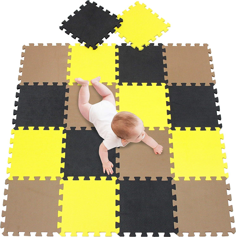 Id/éal pour l/Éveil de lenfant Blanc Noir Blue 010407 meiqicool Tapis de Sol Enfant et B/éb/é en Mousse 18 Dalles Color/ées /à Imbriquer 30 x 30 cm