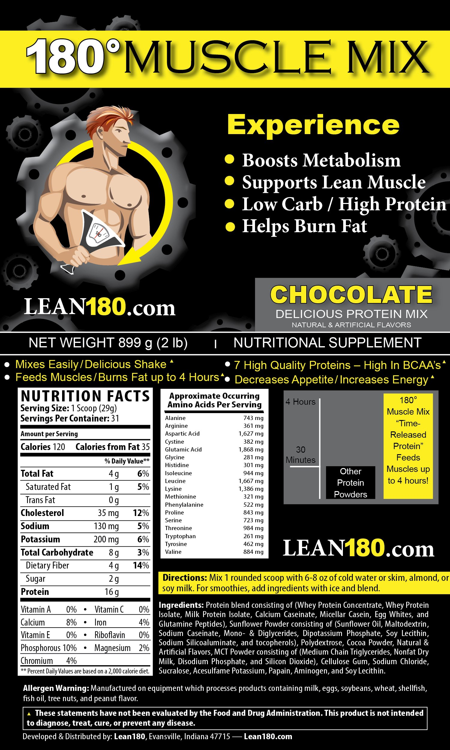 Lean 180 - 30 Day Weight Loss Challenge - Diet Plan to Lose Weight Fast and Get Lean - Lose up to 30 Pounds in Just 30 Days - Everything You Need to Get Lean Fast and Lose Belly Fat (Chocolate, XL) by Lean 180 (Image #2)