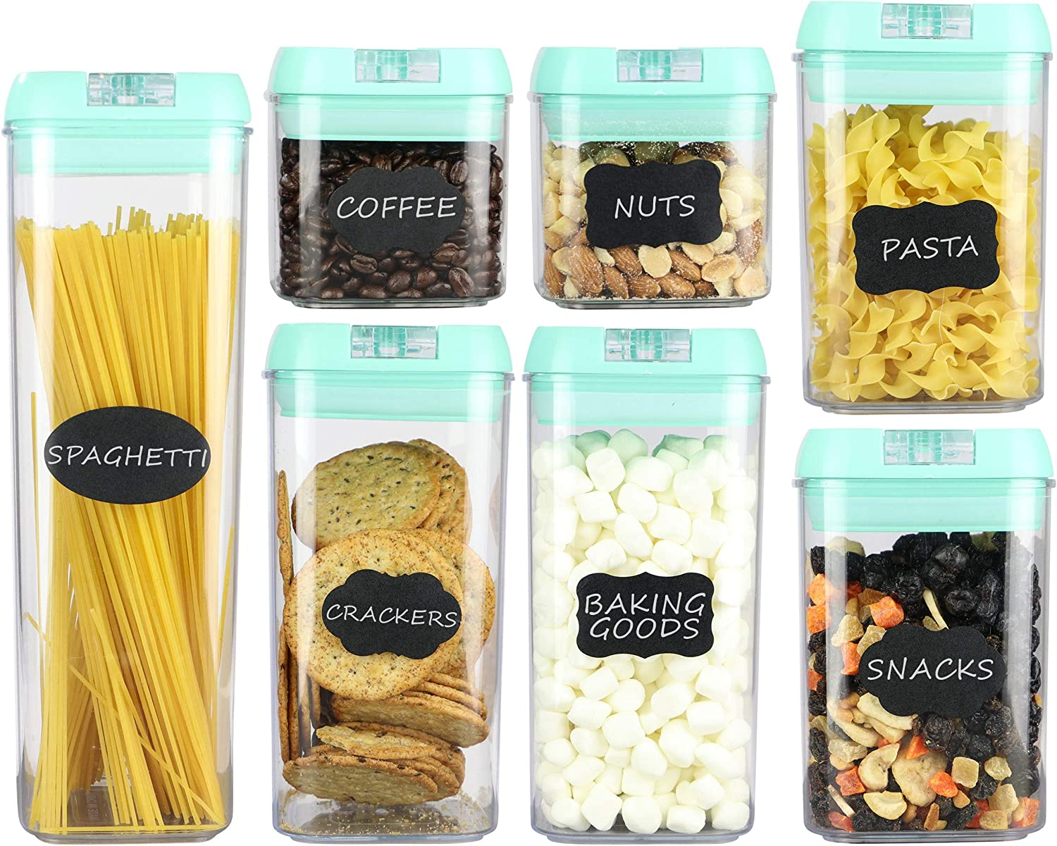 Airtight Food Storage Containers – 7 pc Set - Shatterproof Plastic Food Containers - Mint Green Airtight Lids – BPA-Free Food Storage Boxes – Includes 24 Free Chalkboard Labels and 1 White Marker