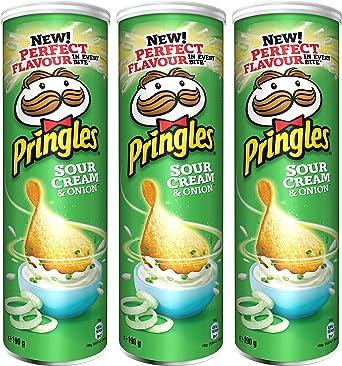 Pringles Sour Cream and Onion Crisps 190 gr. - [Pack 3]: Amazon.es ...